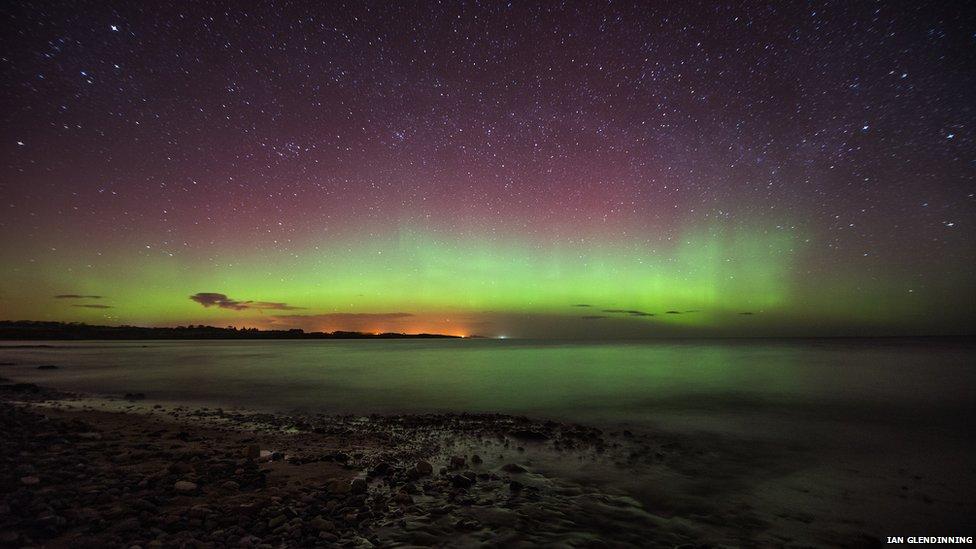 The Northern Lights over Boulmer, Northumberland