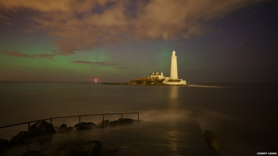 The Northern Lights over St Mary's Island, Tyne and Wear