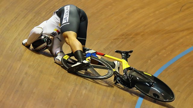 Max Levy's crash in the keirin final at the Track Cycling World Championships costs GB's Jason Kenny his chance to win a medal