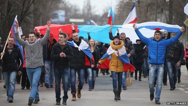 Pro-Russian protesters in Simferopol on 1 March 2014