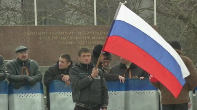 Pro-Russia supporters in Crimea