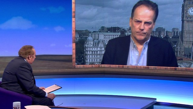 Andrew Neil with Mark Field MP