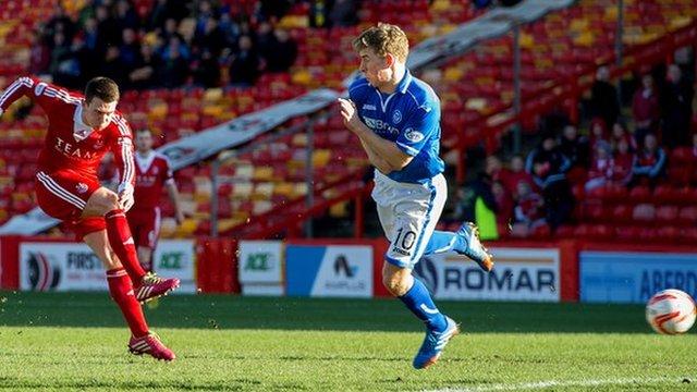 Ryan Jack scores for Aberdeen against St Johnstone