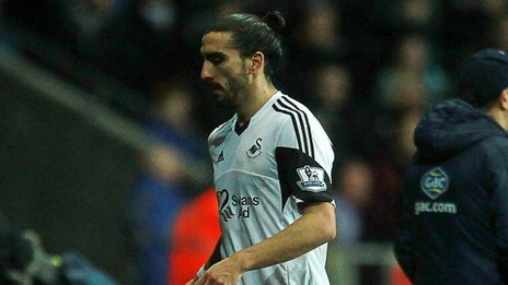 Chico Flores sent off for Swansea against Crystal Palace