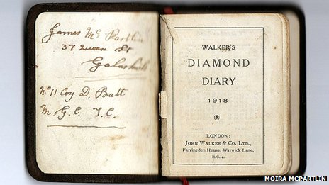 Inside page of diary reads: James McPartlin, 37 Queen St Courtesy, No  11 Coy D Batt, No  11 Coy D Batt. First page reads Walker;s Diamond Diary 1918 London