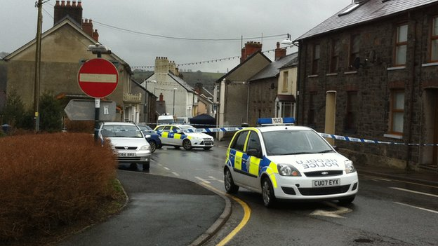 Police at the scene in Llandysul