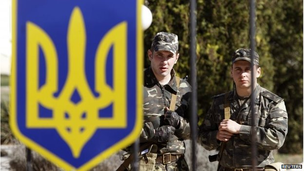Ukrainian servicemen at their military unit located in the village of Lyubimovka, in Crimea, March 3