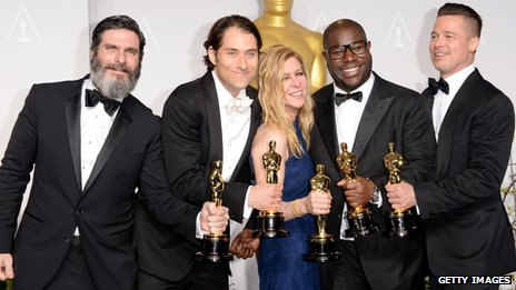 Steve McQueen and Brad Pitt (right) with fellow 12 Years a Slave producers Anthony Katagas, Jeremy Kleiner and Dede Gardner