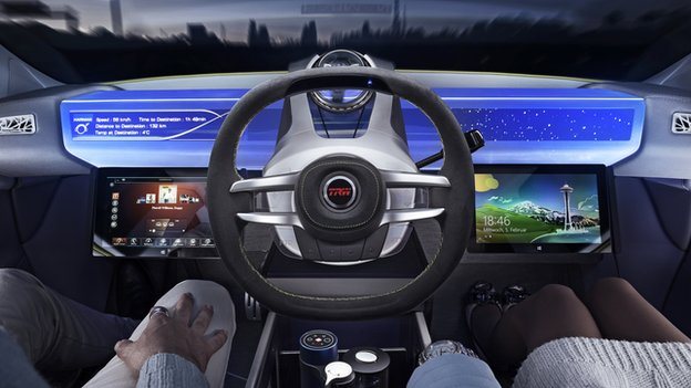 illustration of a driverless car's dashboard