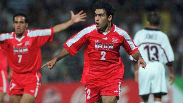 Mehdi Mahdavikia scores for Iran against the USA