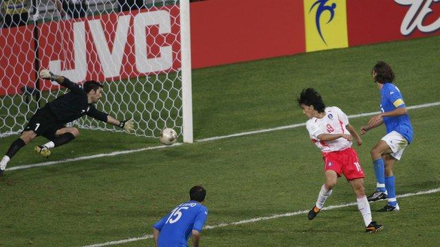 Ahn Jung-Hwan scores the golden goal for South Korea against Italy