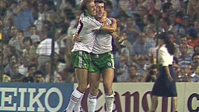Gerry Armstrong scores for Northern Ireland against Spain