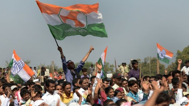 Members of the Congress party at a rally in Bardoli town, some 280 kms from Ahmedabad on February 8, 2014