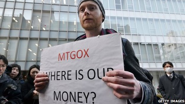 Protestor with placard - Mt Gox Where is our money?