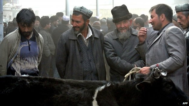 File photo of Uighur men in Hotan, Xinjiang region