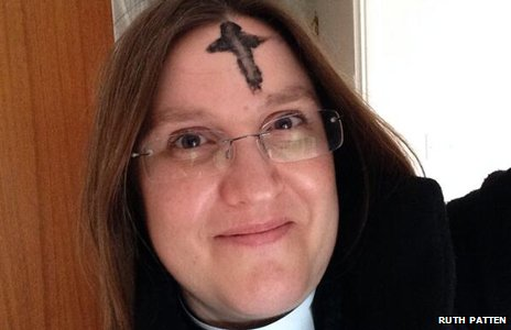 Rev. Ruth Patten with an ash cross on her forehead