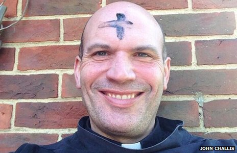 Rev. John Challis with an ash cross on her forehead