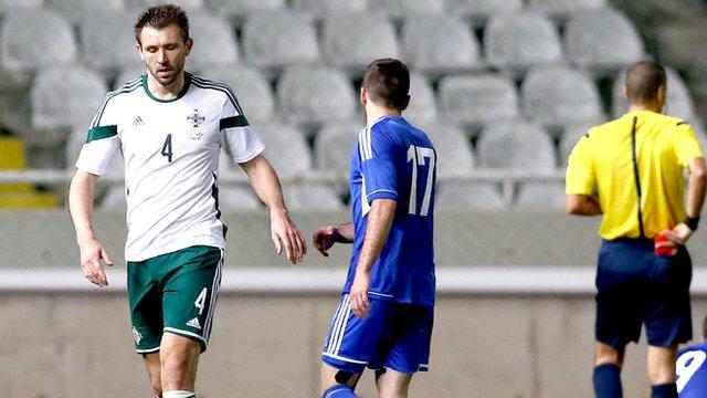 Gareth McAuley is sent-off against Cyprus