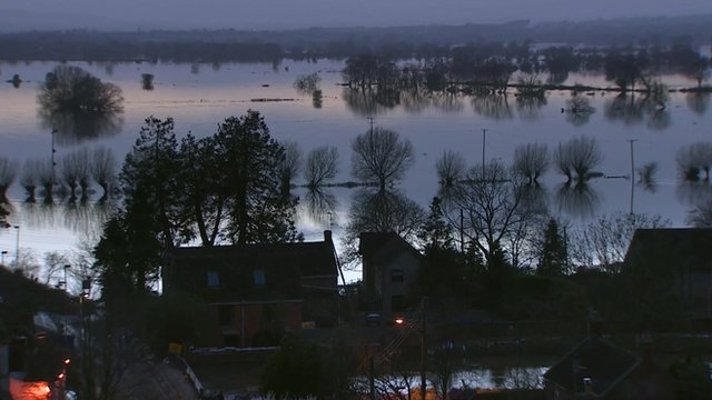 Flooded land in Somerset