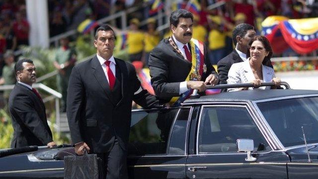 President Nicolas Maduro at military parade