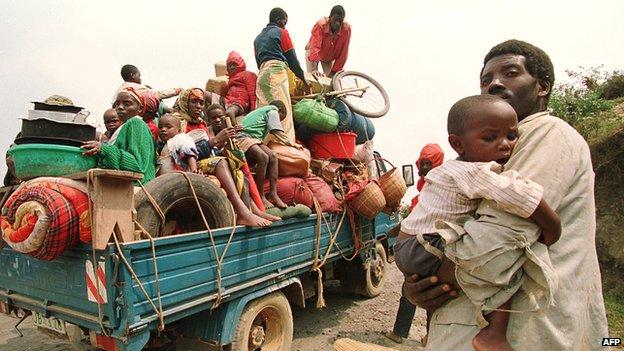 Refugees fleeing the violence in Rwanda in 1994
