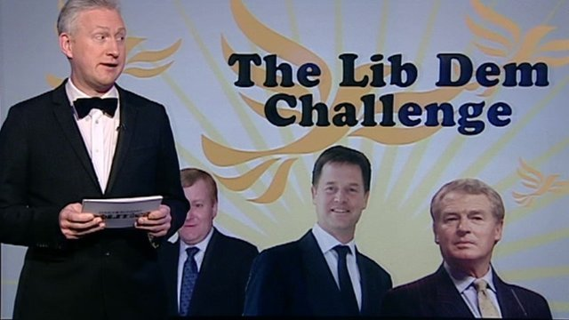 Lembit Opik with Lib Dem graphic
