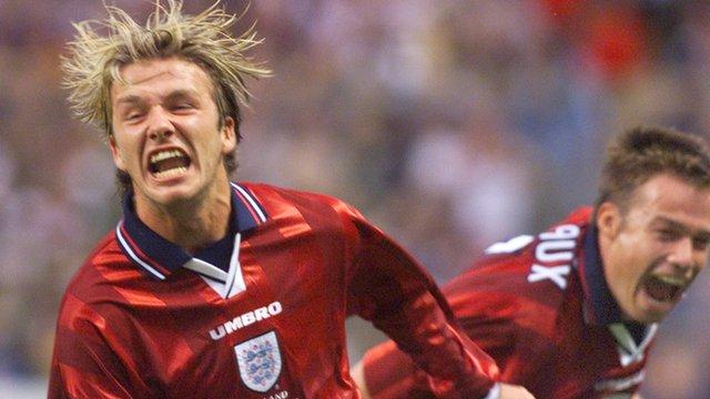David Beckham celebrates after scoring for England against Colombia