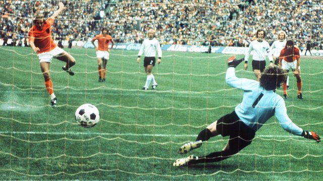 Johan Neeskens scores a penalty for Netherlands against West Germany