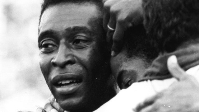 Pele celebrates during the 1970 World Cup