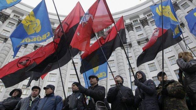 Svoboda and UPA flags in Kiev