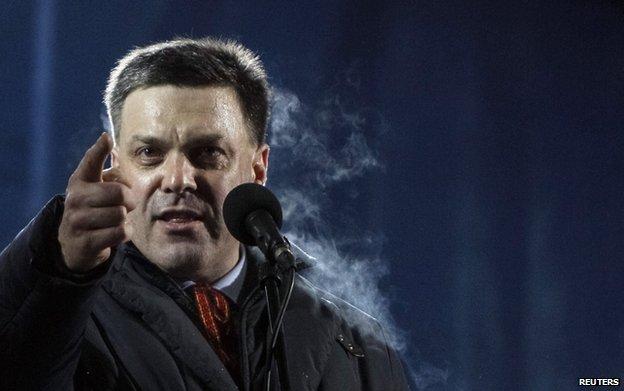 Head of the All-Ukrainian Union Svoboda (Freedom) Party Oleg Tyahnibok