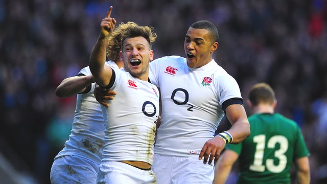 England's Danny Care celebrates after scoring for England against Ireland