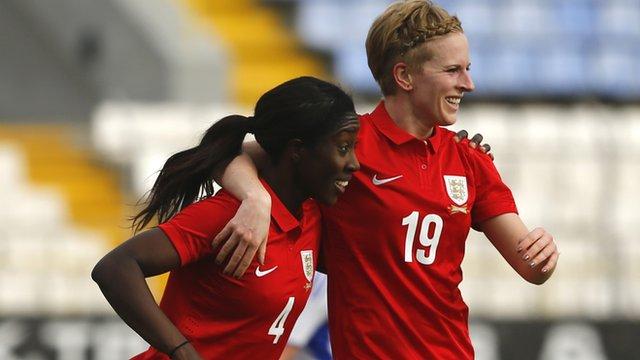 England's Anita Asante and Natasha Dowie celebrate against Finland