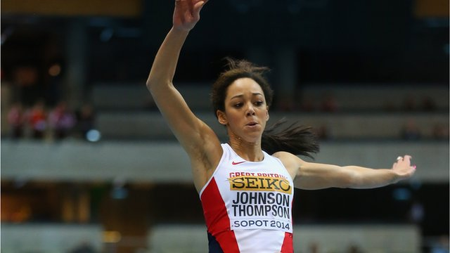 Great Britain's Katarina Johnson-Thompson wins silver in the long jump at the World Indoor Championships in Poland.