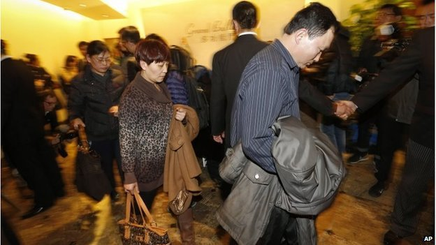 Chinese relatives of passengers aboard a missing Malaysia Airlines plane