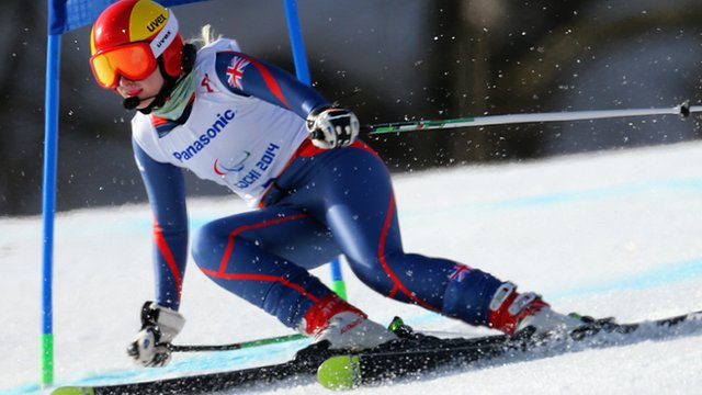 Kelly Gallagher on her way to winning the women's Super-G gold at the Winter Paralympics on Monday in Sochi