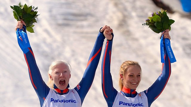 Kelly Gallagher and Charlotte Evans after their gold-medal triumph on Monday