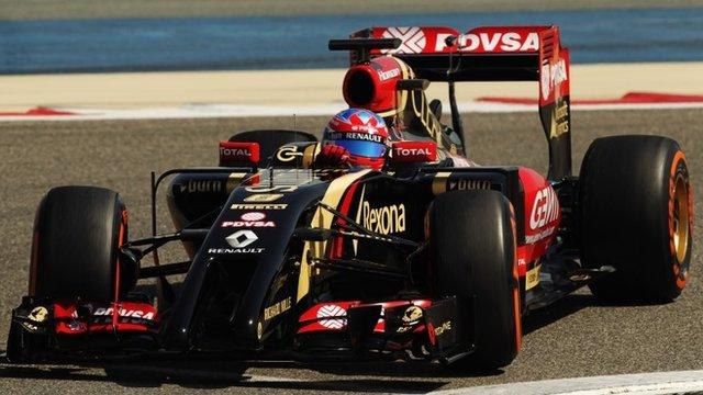 Lotus's Romain Grosjean takes part in testing in Bahrain