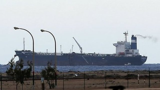A North Korean-flagged tanker is docked at Sidra port