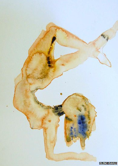 Painting of upside down woman