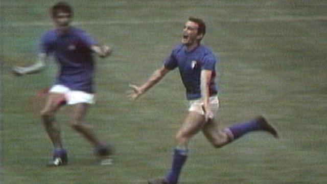 Luigi Riva celebrates after scoring for Italy against West Germany