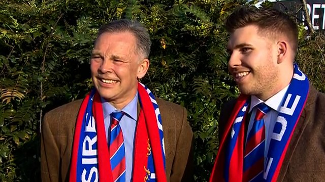 Steve Preston and his son Sean cannot hide their delight following Sire de Grugy's victory in the Queen Mother Champion Chase at the Cheltenham Festival.
