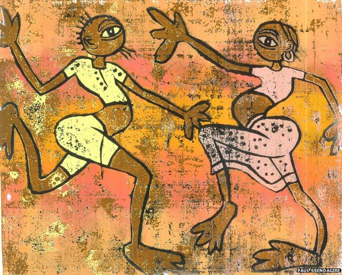 Woodcut of two people dancing