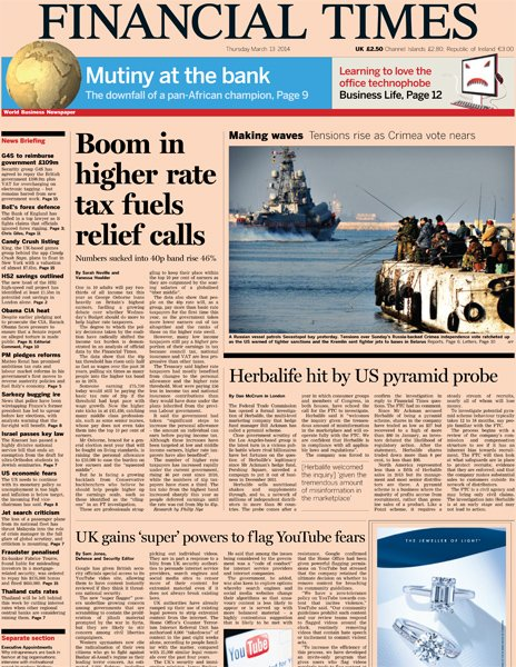 Financial Times front page, 13/3/14