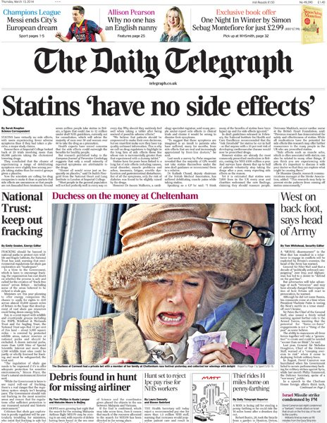 Daily Telegraph front page, 13/3/14
