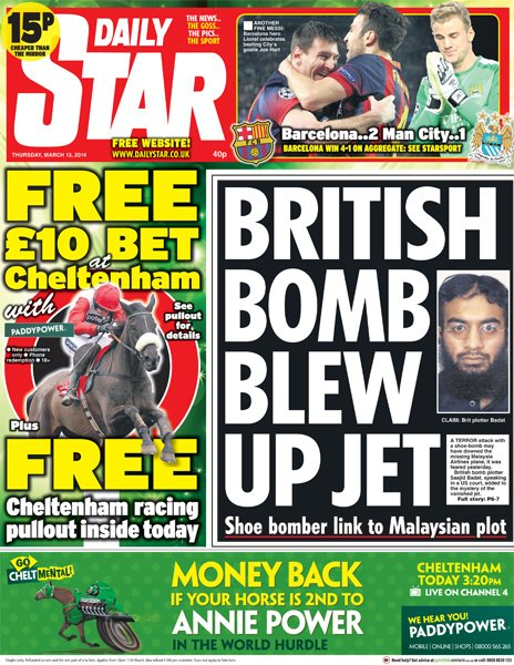 Daily Star front page, 13/3/14
