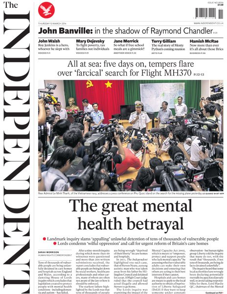 Independent front page, 13/3/14