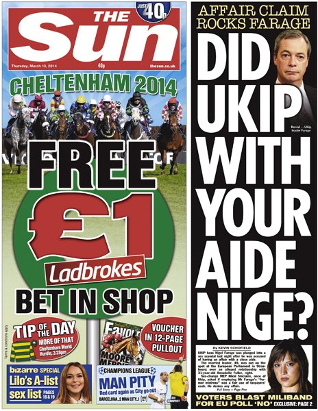 The Sun front page, 13/3/14