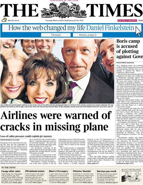 The Times front page, 13/3/14