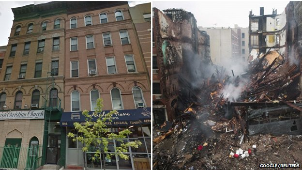 Composite photo of before Google street view and after explosion